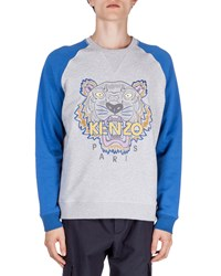 Kenzo Tiger Icon Crewneck Baseball Sweatshirt Gray Blue