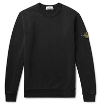 Stone Island Loopback Cotton Jersey Sweatshirt Black