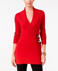 Inc International Concepts Faux Wrap Tunic Sweater Only At Macy's Real Red