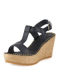 Andre Assous Lemon Leather Wedge Sandal Navy