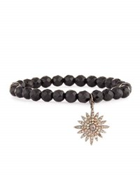 Bavna Black Spinel And Pave Diamond Sun Charm Bracelet