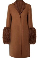 Akris Shearling Trimmed Cashmere Coat Tan