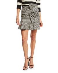 Veronica Beard Picnic Bow Mini Skirt Black White Black White