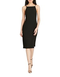 Polo Ralph Lauren Leather Trim Sheath Dress Black