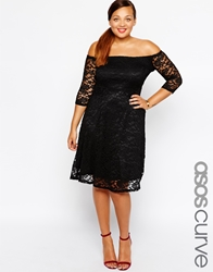 Asos Curve Lace Bardot Dress With 3 4 Length Sleeve Black