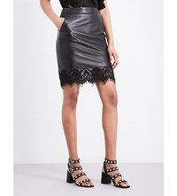 The Kooples Lace Trimmed Leather Mini Skirt Bla01