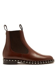 Valentino Soul Leather Chelsea Boots Dark Brown