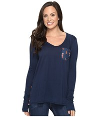 Rock And Roll Cowgirl Long Sleeve Tee 48T8195 Navy Women's T Shirt