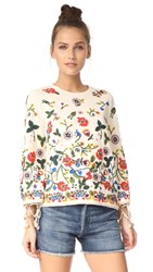 Alice Olivia Lenora Embroidered Bell Sleeve Tunic Champagne Multi