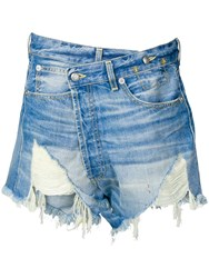 R 13 R13 Crossover Denim Shorts Blue