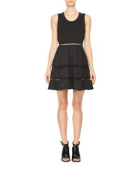 Carven Sleeveless Jersey And Ponte Mini Circle Dress Black