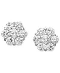 Arabella 14K White Gold Earrings Swarovski Zirconia Cluster Stud Earrings 1 5 8 Ct. T.W. Clear