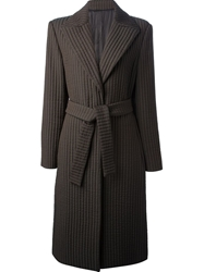 Gianni Versace Vintage Ribbed Coat Brown
