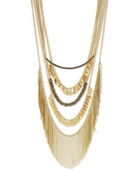 Bcbgeneration Gold Tone Multi Chain Polished Disc And Fringe Statement Necklace