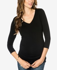 Isabella Oliver Maternity Ruched T Shirt Caviar Black