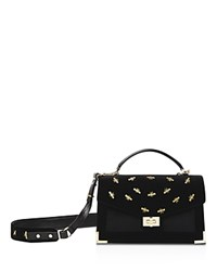 The Kooples Emily Embroidered Velvet Medium Crossbody Black