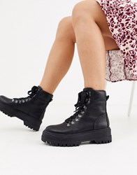 Bershka Lace Front Hiker Boots In Black