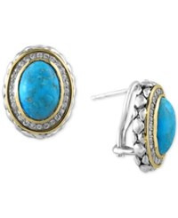 Effy Collection Turquesa By Effy Manufactured Turquoise 6 5 8 Ct. T.W. And White Sapphire 1 2 Ct. T.W. Earrings In Sterling Silver And 18K Gold Blue