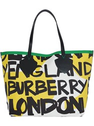 Burberry The Giant Tote In Graffiti Print Cotton Yellow And Orange