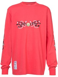 Rochambeau Tribal Smiley Long Sleeved T Shirt Red