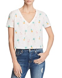 Honey Punch Tropical Print Cropped Tee White