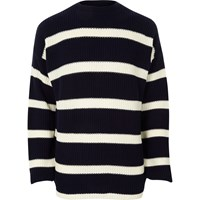 River Island Navy Stripe Oversized Fisherman Jumper