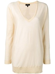 Theory Deep V Neck Sweater Neutrals