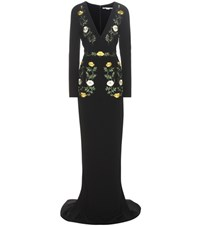 Stella Mccartney Embroidered Crepe Gown Black