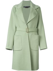 Rochas Belted Trench Coat Green