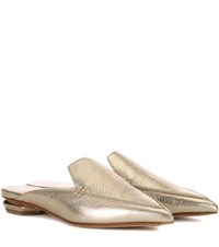 Nicholas Kirkwood Beya Metallic Leather Mules Gold