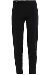 Versace Leather Trimmed Stretch Crepe Skinny Pants Black