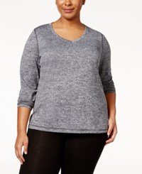 Ideology Plus Size Heathered Top Only At Macy's Noir
