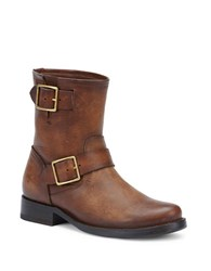 Frye Vicky Engineer Buckled Leather Boots Dark Brown