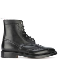 Thom Browne Perforated Detailing Military Boots Black