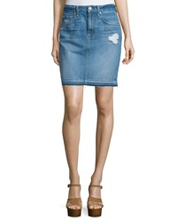 7 For All Mankind Denim Mini Skirt W Released Hem Blue