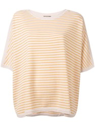 N.Peal Oversized Stripe T Shirt Nude Neutrals