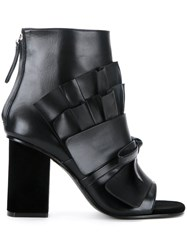 Emilio Pucci Pleated Detail Ankle Boots Black