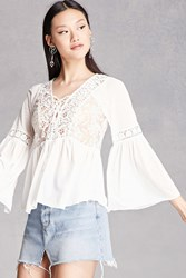 Forever 21 Crochet Panel Bell Sleeve Top White