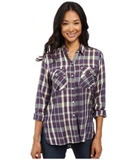 Roxy Sunday Funday Plaid Button Up Top Italian Plum Kindred Plaid Women's Clothing Multi