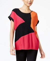 Ny Collection Mixed Media Pleated Top Jet Black Jazzy Pink Mandarin Red