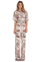 Anna Sui Prince Of Pagodas Print Jumpsuit Beige