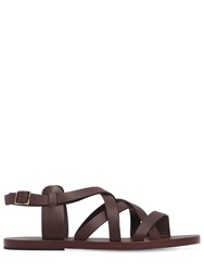 Dsquared 10Mm Leather Gladiator Sandals Dark Brown
