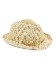 Saks Fifth Avenue Toyo Crochet Fedora Natural Gold