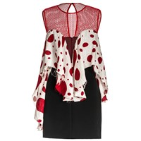 Leka Polka Dot Ruffle Front Mini Dress Black White Red