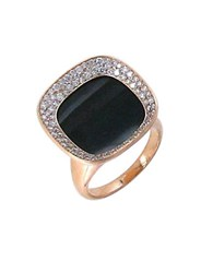 Roberto Coin Caranby Street Diamond Black Jade And 18K Rose Gold Ring