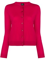 Paul Smith Ps By Crew Neck Cardigan Red