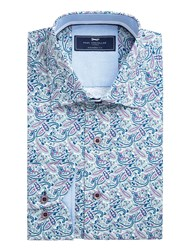 Paul Costelloe Men's Marto Paisley Cotton Shirt Purple