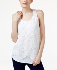 Inc International Concepts Lace Front Tank Top Only At Macy's Bright White