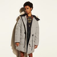Coach Wool Puffer Coat Grey