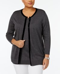 August Silk Plus Size Velvet Trim Cardigan Grey Flannel Heather